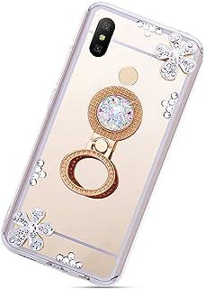 Urhause Spegel silikonfodral för Xiaomi Redmi Note 6 Pro, Bling Glänsande Diamant Strass Blomma TPU Skyddsfodral med Ring ...