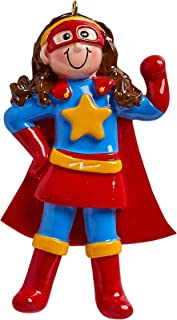 Personalized Super Girl Christmas Tree Ornament 2019 - Hero Fictional Character Red Yellow Blue Costume Cape Best Toddler Heroic Cartoon Wonder Warrior Woman Toy Star Gift Year - Free Customization