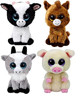 Valley Treasure Packs Ty Beanie Babies Farmyard Animals Gift Pack Bundle With Butter Cow, Piggley Pig, Harriet Horse and Gaby Goat