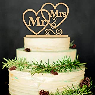 ZesNice Cake Topper Hochzeit, Mr Mrs Kuchendeckel Hochzeit Kuchen Topper Kuchendekoration Holz Farbe
