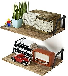 SRIWATANA Floating Shelves Wall Mounted Set of 2 Rustic Wood Shelves with Large Capacity(Carbonized Black)