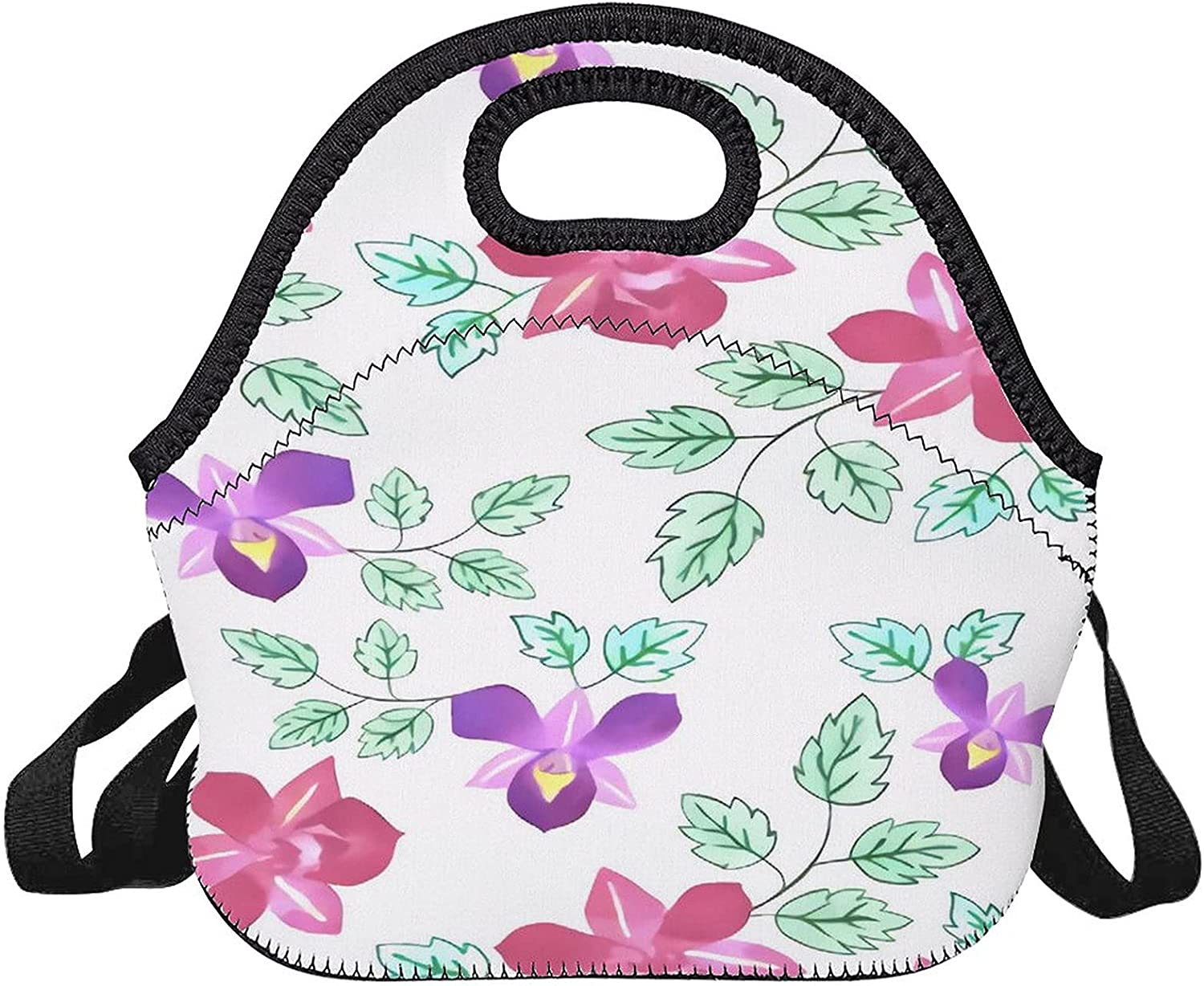 Upgraded lunch bag,Pink And Sacramento Mall Orchids,reusable Purple co Special price for a limited time