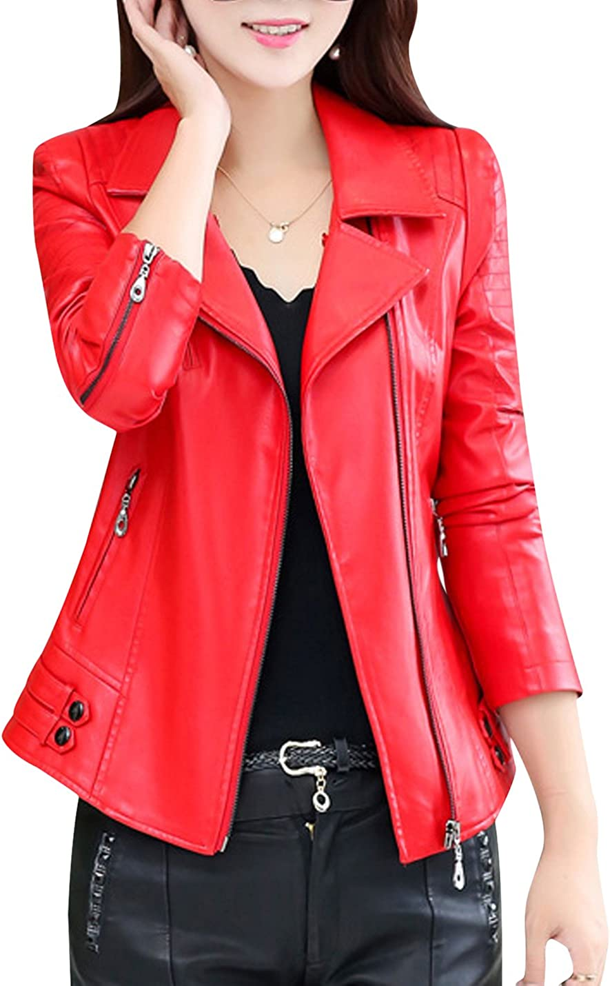 Uaneo Women's Notch Lapel Zip Up PU Faux Leather Moto Biker Jacket Outerwear (Red, X-Small)