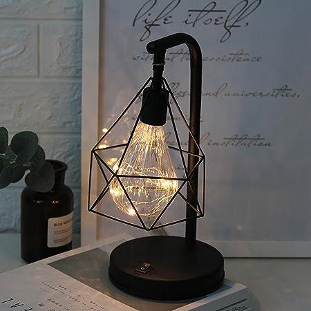 Lampe de table décorative,SUAVER Rétro Atmosphère Lampe,Lampe de bureau en métal Forme de diamant Ampoule lampe de table lumière de nuit décoration lampe cadeau jouet, à piles (Blanc chaud)