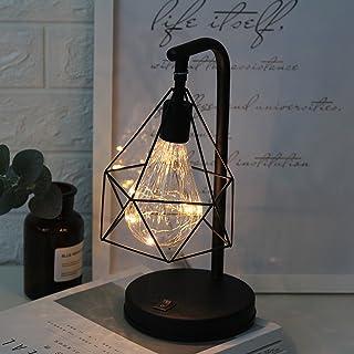 Lámpara de Escritorio de metal,SUAVER Edison Bombilla Lámpara de Mesa vintage,Batería Lámpara de noche decorativa Ambiental Luces para Dormitorio Boda Navidad Decoración del Hogar (Blanco cálido)