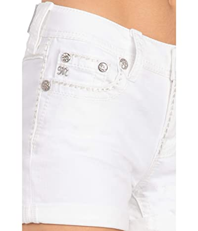 Miss Me Cuffed Mid-Rise Shorts with Thick Border Stitch in White (White) Women