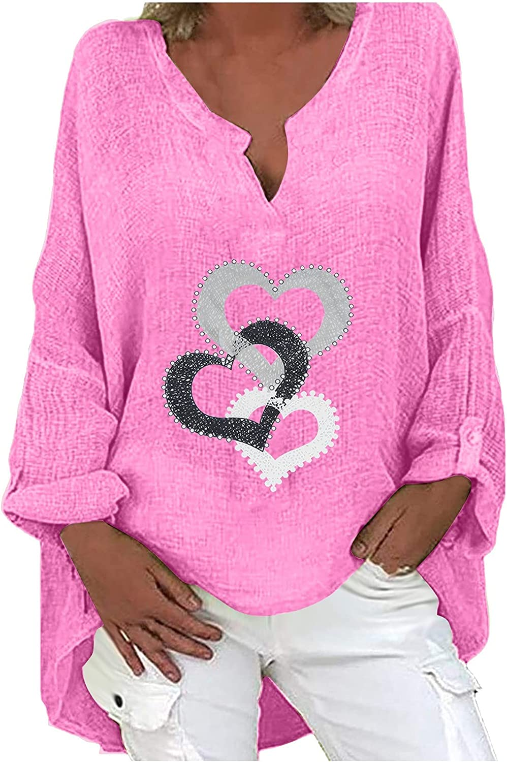 Womens Long Sleeve Tops, Women's V-Neck Printing Loose Casual Long Sleeve T-Shirt Blouse Tops