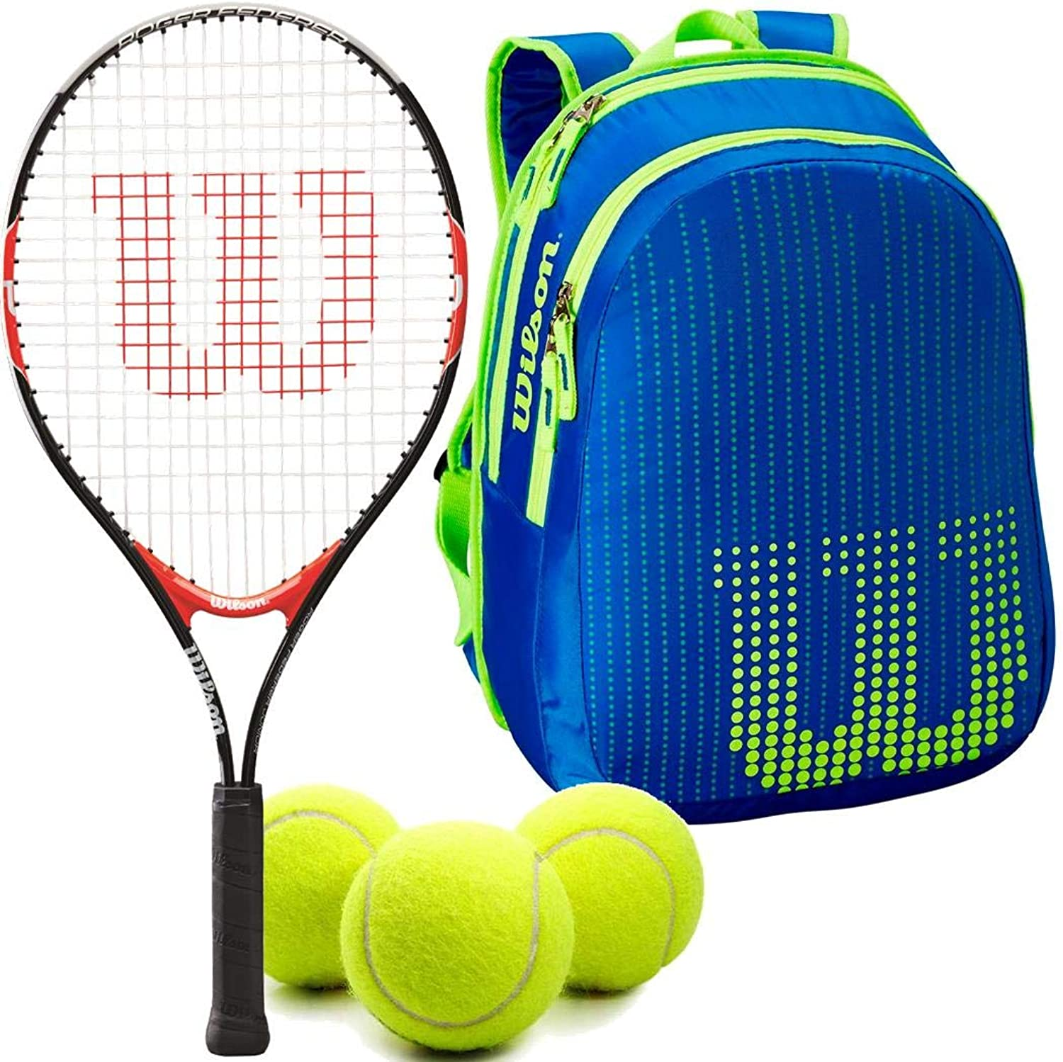 Wilson Federer 21 Inch Junior Tennis Racquet Set or Kit Bundled with a Neptune blueee Solar Lime Kid's Tennis Backpack and a Can of Tennis Balls