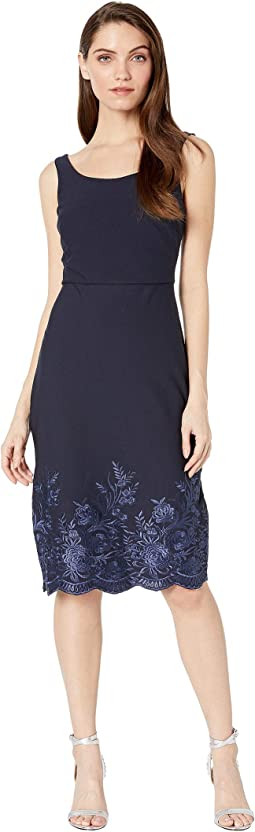 Scuba Crepe Midi Dress with Embroidery