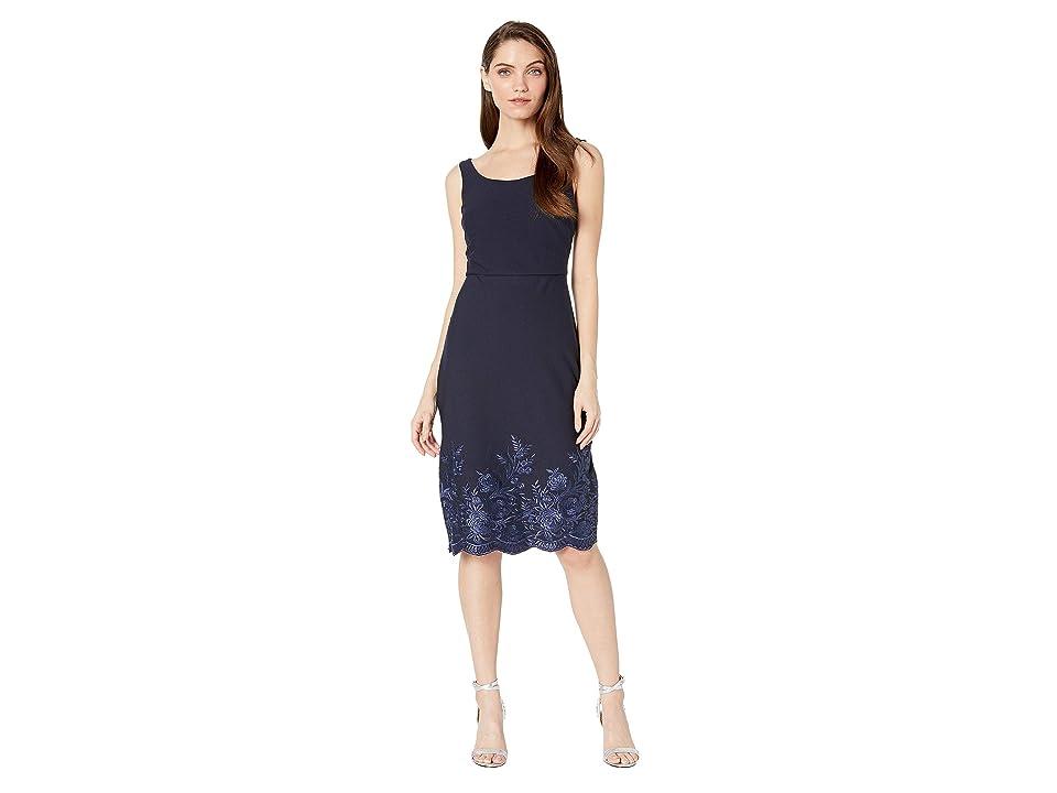 Betsey Johnson Scuba Crepe Midi Dress with Embroidery (Navy) Women