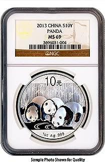 2013 CN Chinese Silver 1oz Panda 10Yn MS69 NGC Brown Label