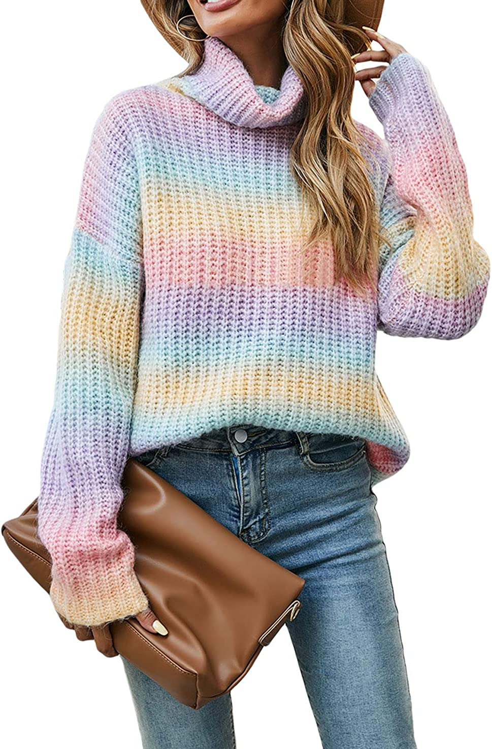 CHARTOU Women's Chunky Turtleneck Knit Rib Rainbow Gradient Color Sweater Jumper Pullover