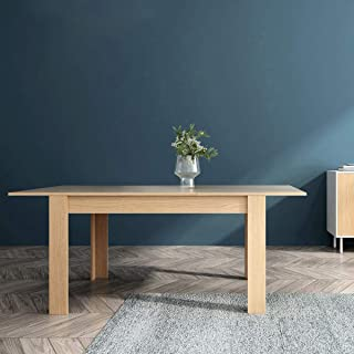 Mc Haus GROTTA - Mesa Comedor Extensible Madera salón Mesa Cocina diseño Nórdico y patas de madera Natural 140/190x90x78cm