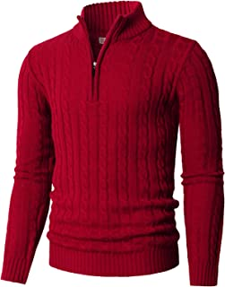 Mens Casual Slim Fit Pullover Sweaters Long Sleeve Knitted Fabric Zip Up Mock Neck Polo Sweater