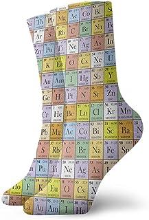ONGH, Cuadrados de colores Tabla periódica Calcetines de equipo clásico Punto plano Casual Athletic Stoking 30CM Soft