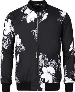 Men Casual Print Floral Camo Zipper Lightweight Baseball Flight Bomber Jacket