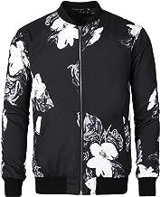 Lars Amadeus Men Casual Print Floral Camo Zipper Lightweight Baseball Flight Bomber Jacket