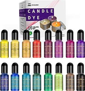 Colorant Bougie - 16 Couleurs Colorant de Cire Bougie pour Fabrication de Bougies, Hautement Concentré Colorant Bougie Liq...