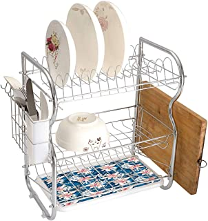 Stainless Steel 3-Tier Dish Drainer Rack Leaf Kitchen Drying Drip Tray Cutlery Holder Singapore Plumeria and Tropical Hibiscus Hawaiian Flowers Grunge Design Decorative,Pink White and Dark Blue,Storag