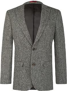 Mens Grey Suit Jacket Regular Fit 100% Wool Herringbone