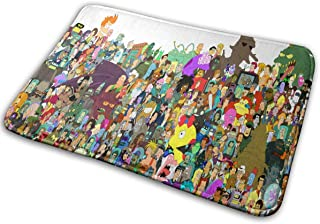 BLSYP Felpudo Pretty Much Every Character Who Ever Appeared in Futurama Super Absorbent Mat Interior and Exterior Decorati...
