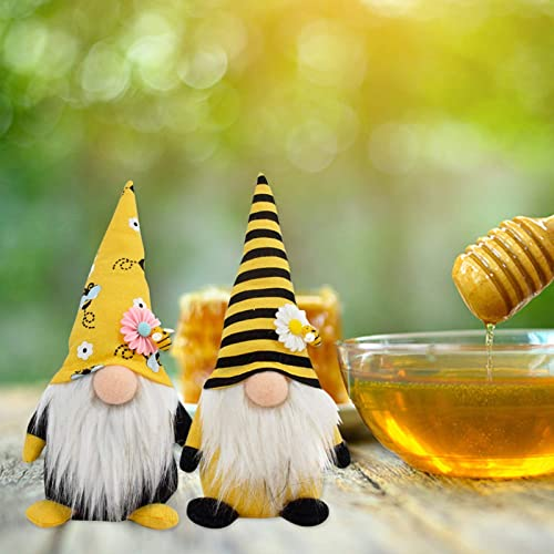 wholesale Bumble Bee Gnome Plush Decor Scandinavian Tomte Dwarf Swedish high quality Figurines Spring Bee Gnome Plush Toy Home Farmhouse Kitchen Decor Bee Party Gift Tiered Tray Decoration Ornaments outlet online sale Set of 2 outlet sale