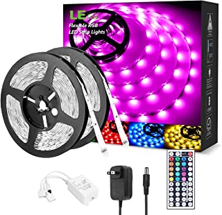 LED Strip Lights 32.8ft, RGB LED Light Strip, 5050 SMD LED Color Changing Tape Light with 44 Keys Remote and 12V Power Sup...