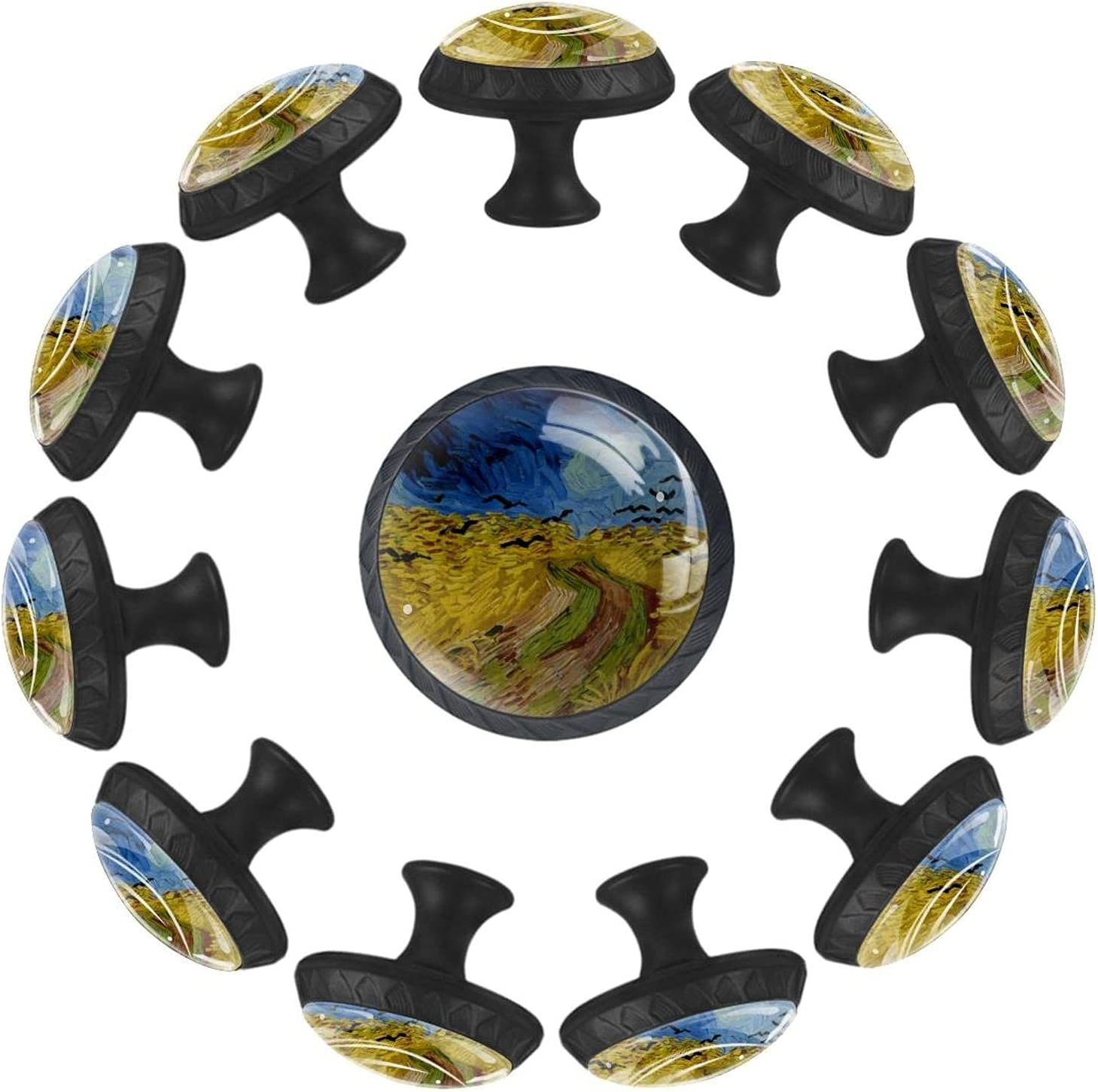 12 Pcs Cabinet Knobs Art Glass Round Drawer Crystal Wheatfield sold out Excellence