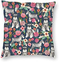 Pillowcases Schnauzer Floral Dog Cute Vintage FloralsCute Floral Designchnauzers Neutral Dog for Sofa Bedroom livingroomTwo Sides Printing 18x18 inch