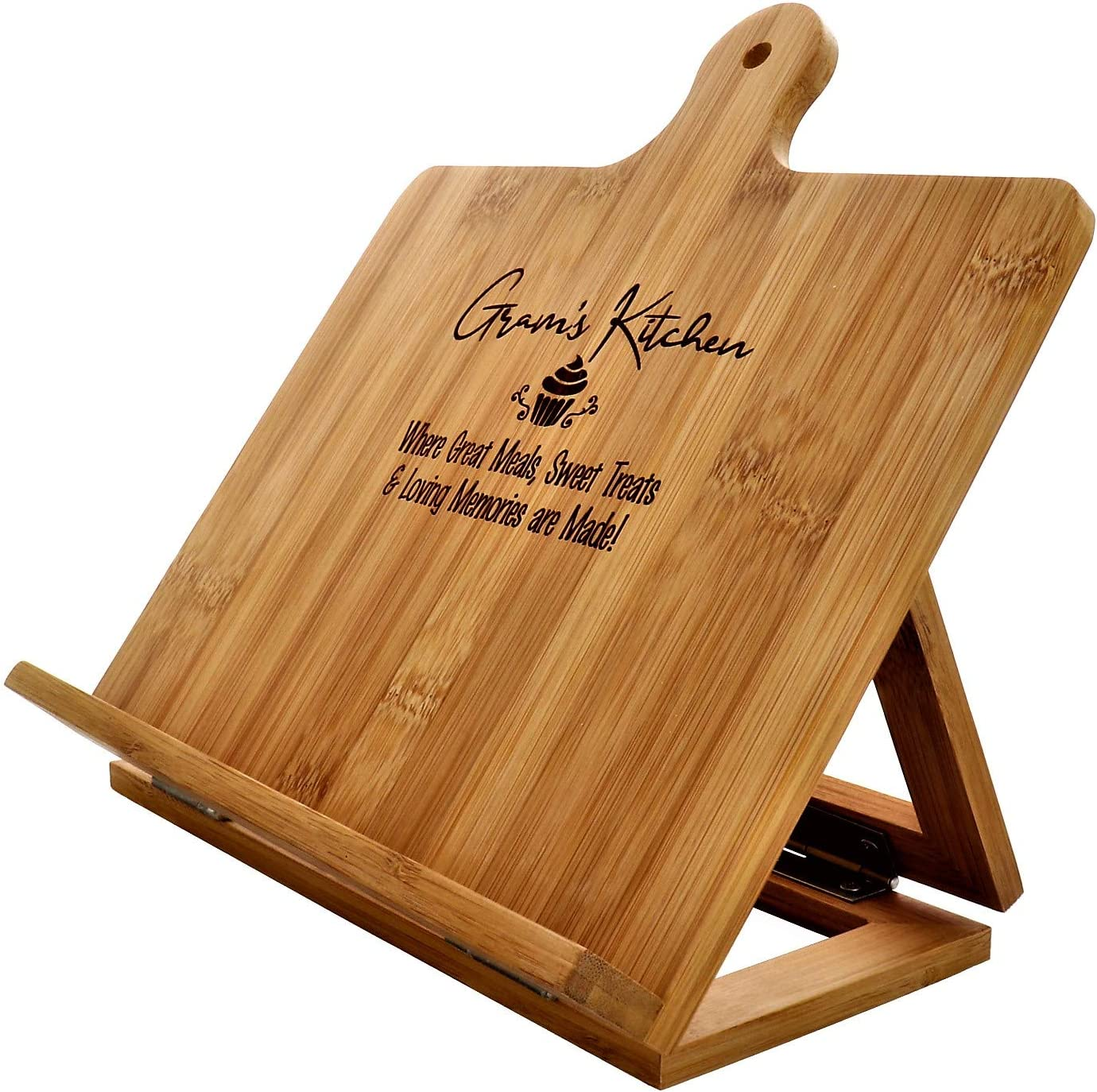 Gram/'s Recipe Cookbook Holder Stand Gift 10.25x10.25 Custom Engraved Bamboo Cutting Board Foldable Chef Easel Metal Hinges Kickstand iPad Tablet Compatible Christmas Birthday Kitchen Decor Design