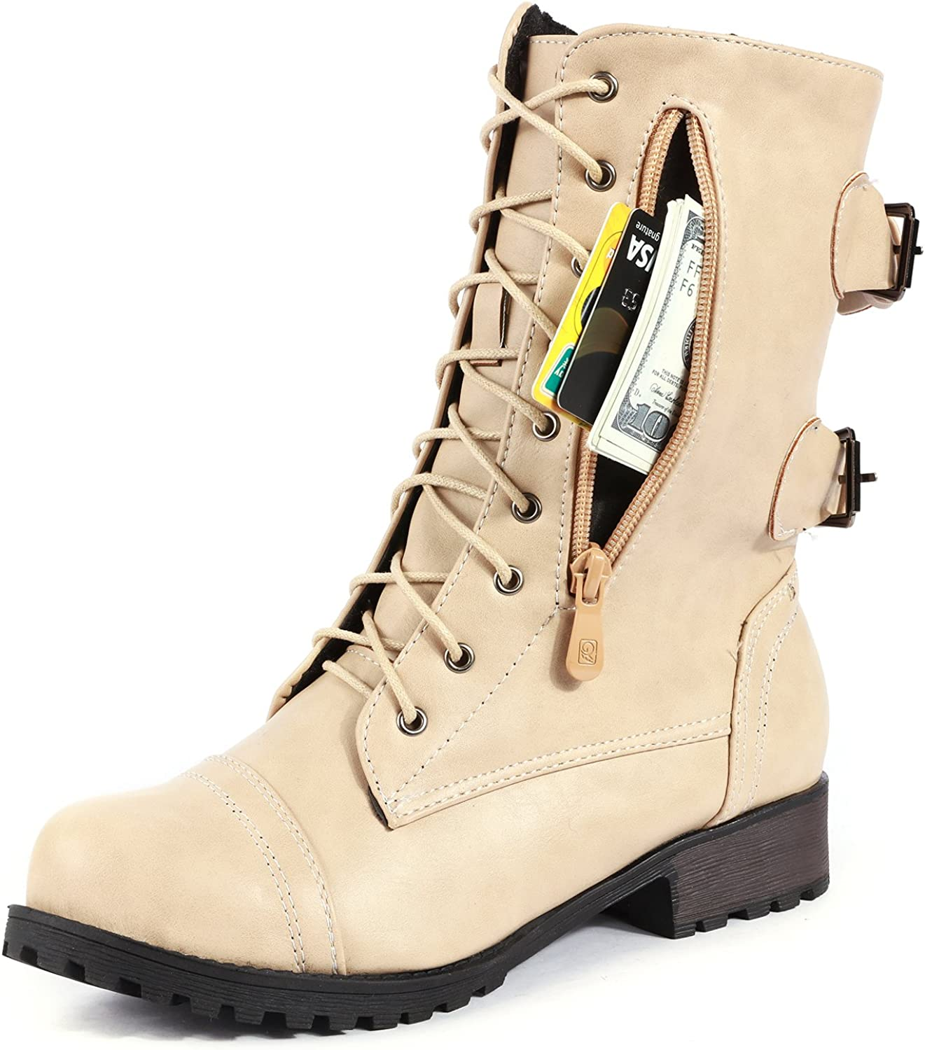 Odema Women's New Winter Lace up Combat Boots Buckle Ankle High Booties Exclusive Credit Card Pocket