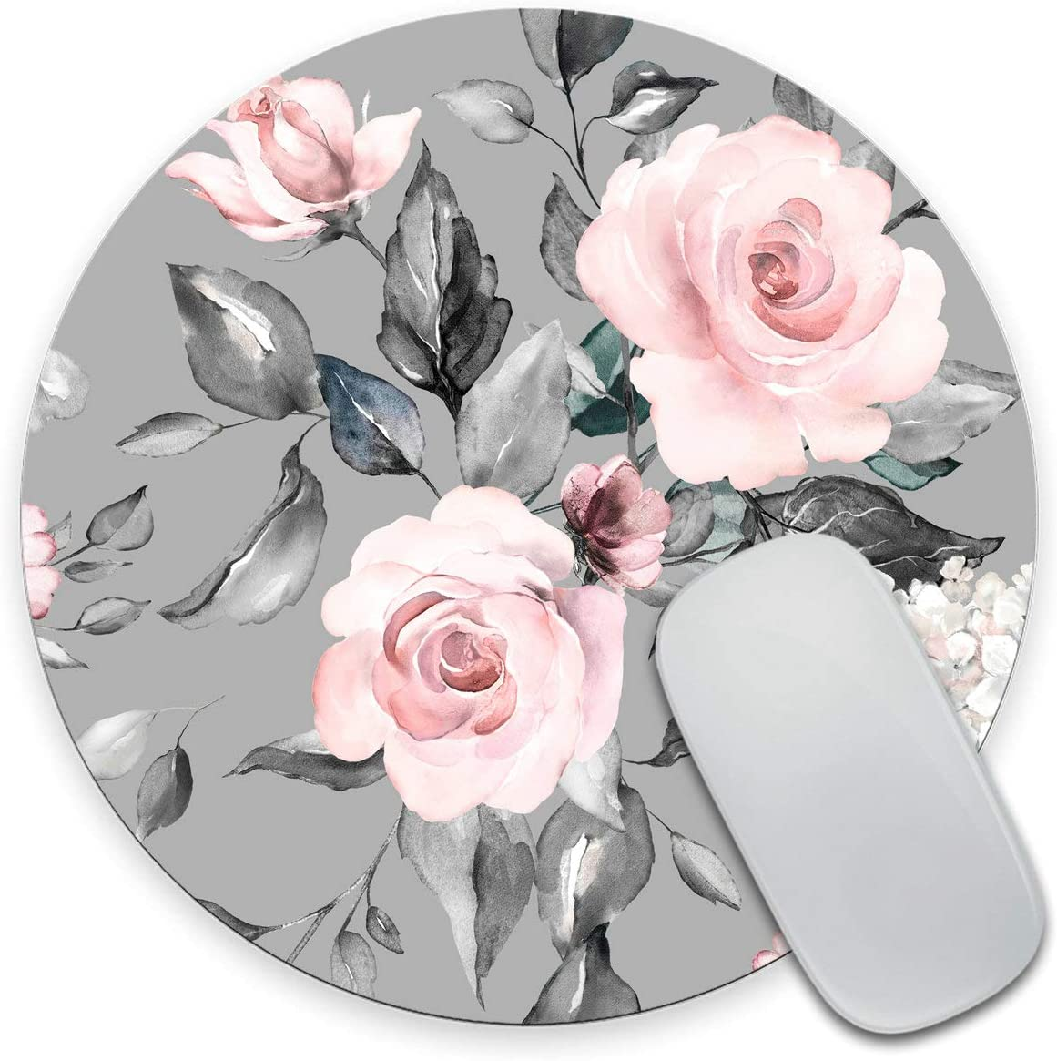 Amcove Spring Flowers Max 63% OFF and Leaves G Mousepad Round SEAL limited product Roses