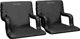 适用于漂白剂或长椅的超宽体育场座椅 - 享受加垫垫靠背和扶手支撑 - 6 个倾斜定制适合运动姿势 - 便携带易于携带的带 - 2 件套
