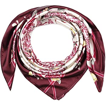 "Silk Feel Solid Color Satin Square Scarf Wrap 35 by 35/"" inches 90 CM squar"