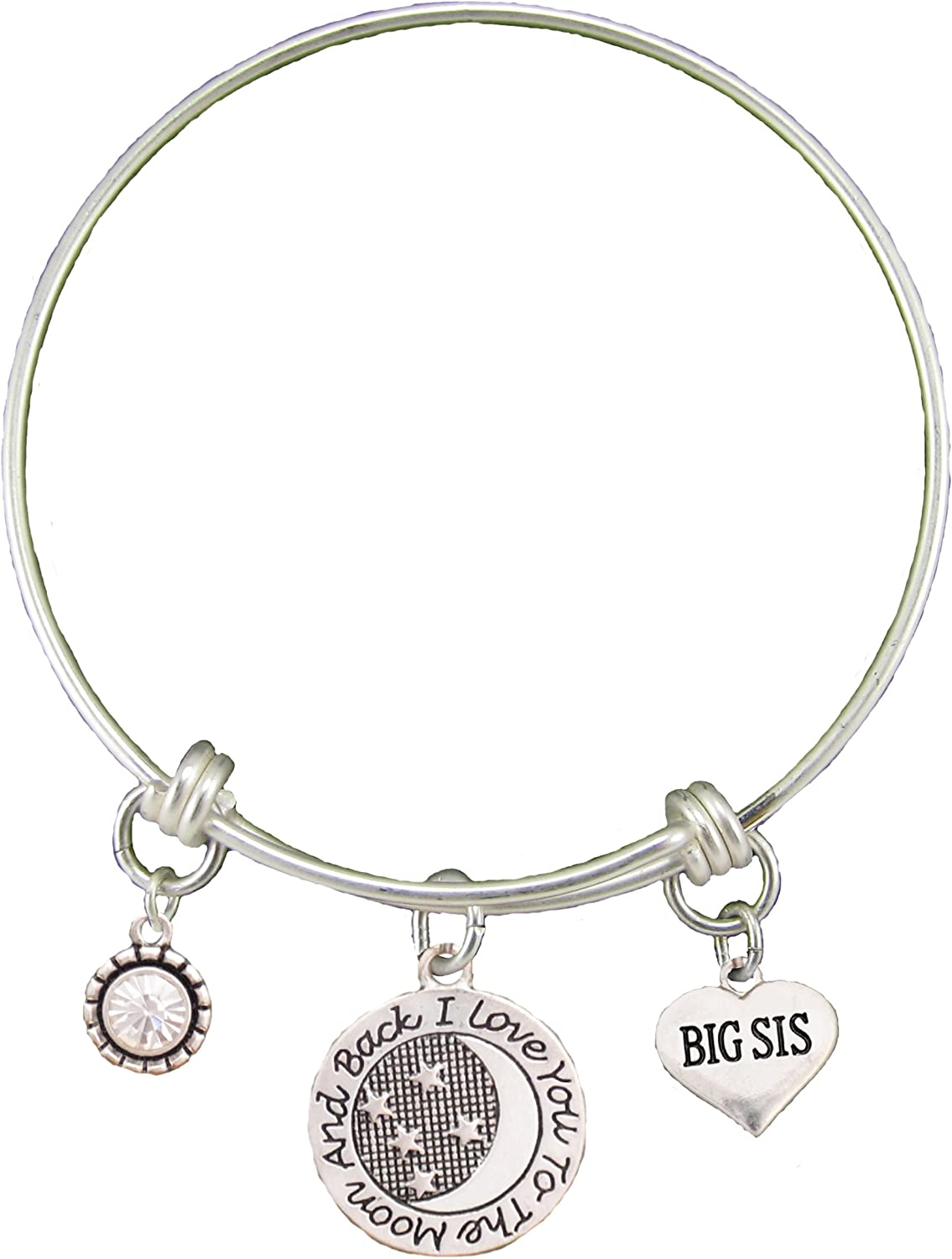 Sale item Big Sis Love You To The Great interest Wire Silver Adjustable Bracelet Moon