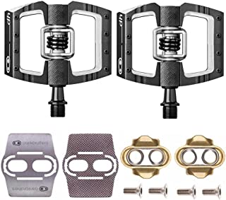 CRANKBROTHERs Mallet Race Pedals Pair, Black (DH Downhill) with Premium Cleats and Bike Shoe Shields Set