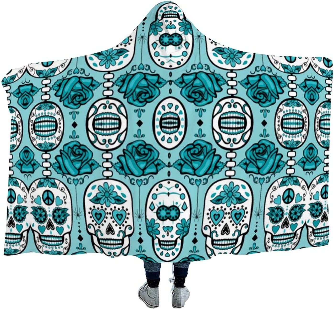 Turquoise Sugar Skulls Wearable A surprise price is realized Hooded Soft Cloak Blanket Wa Spring new work for