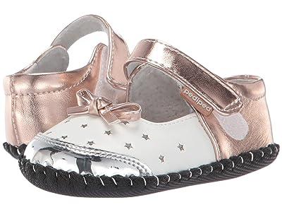 pediped Scarlett Originals (Infant) (White/Silver/Bronze) Girl