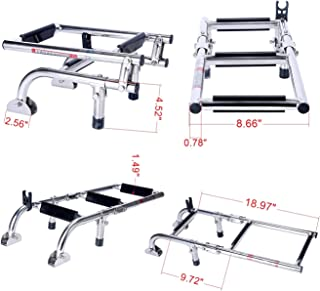 Amarine Made Marine Boat Foldable Stainless Steel 3 Steps Ladders Stern Mount W Rubber Grips