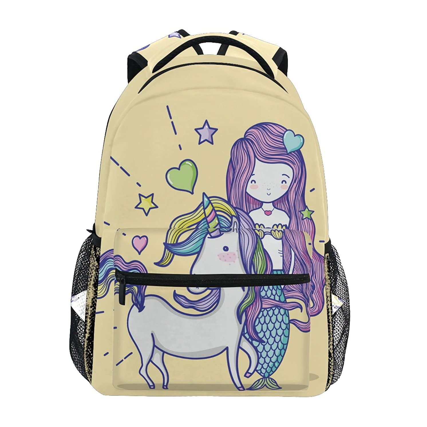 TropicalLife Mermaid Girl Unicorn Backpacks Bookbag Shoulder Backpack Hiking Travel Daypack Casual Bags