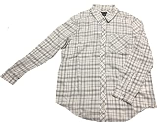 Women's Long Sleeve Button Down Shirt, Pale Parchment Large