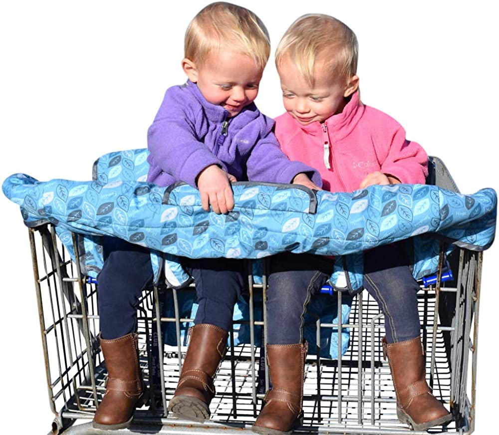 Twin Shopping cart Cover adapts Easily for 1 Child or 2. A Great cart Cover for Babies or Toddlers. Our Baby Shopping cart seat Covers are Machine Washable. Has Attached Bag and Clear Phone Pocket.