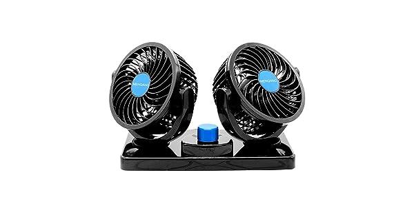 MENQANG 12V Electric Car Cooling Fan 360/° Rotatable Dual Heads Air Circulator Fan Manual Rotation 2 Speed. Balck