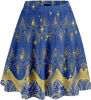 Womens Sun Stars and Moon Sparkly Shining Digital Print High Waist Skirt, XS-3XL