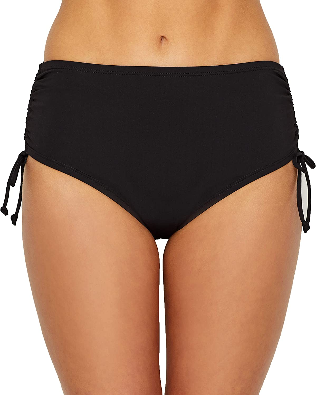 24th & Ocean Women's Plus Size High Waist Side Tie Hipster Bikini Swimsuit Bottom