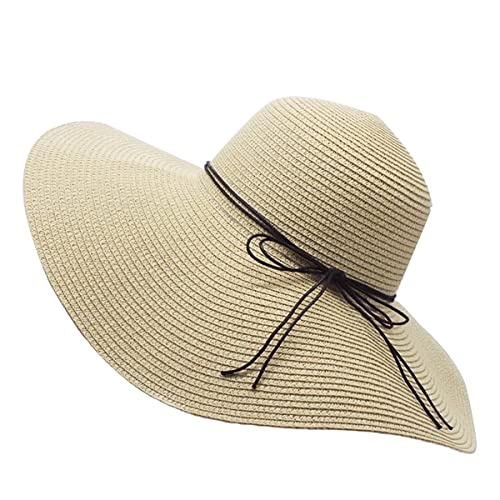 Straw Hat Large Brim Sun Hat Women Summer Beach Cap Big Foldable Floppy  Fedora Hats for b8e5bb5152cd