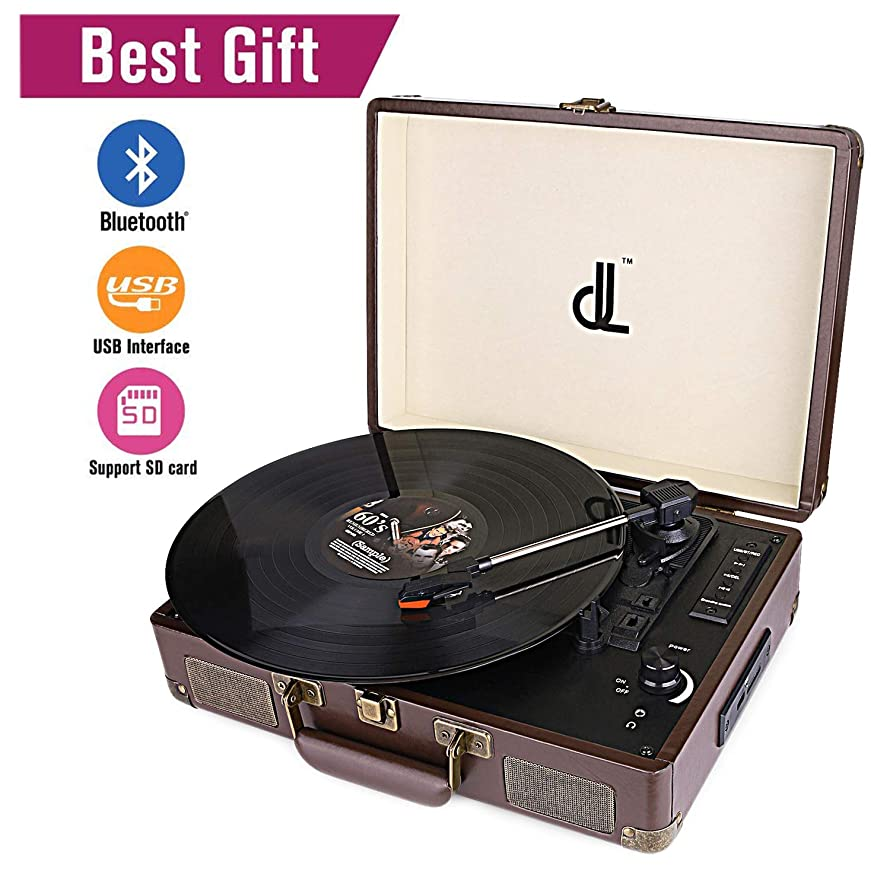 D&L Vintage Leather Bluetooth Record Player Portable Suitcase Turntable, 3 Speed 33/45/78, USB Play and Encoding,Stereo Speaker Recording Player (Brown)