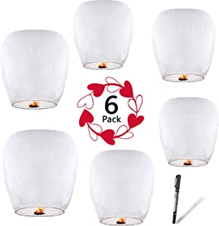 Chinese Lanterns (6-Pack) 100% Biodegradable - Beautiful Lantern for White for Weddings, Birthdays, Memorials and Much More by Smeiker