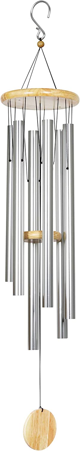 """Exhart 41"""" Silver Metal Wind Chimes w Ch Top free shipping Natural Wood Overseas parallel import regular item"""