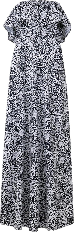 Women's Casual Sleeveless Long Maxi Dress Loose Ruffle Sundress Tube top Sexy beach holiday dress